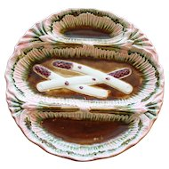 Antique Majolica Divided White Asparagus Plate