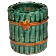 Antique Majolica Green Vase, Bamboo Tied with Rope