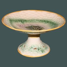 Antique Majolica Begonia Leaf Compote with Basketweave Background