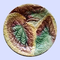 Antique Majolica Plate, Overlapping Begonia Leaves