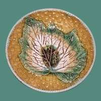 Antique Majolica Begonia Leaf Plate with Overlay Design