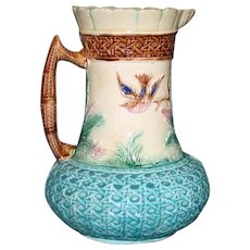 Antique Majolica 9.5 Inch Pitcher with Birds