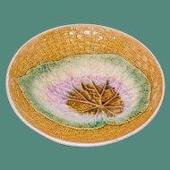 Antique Majolica Compote, Begonia Leaf on Basketweave Background