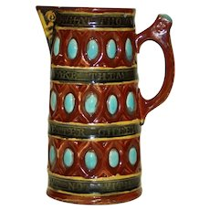 Antique Wedgwood Majolica Pitcher, Banded with Shakespears Quote, Turquoise Ovals