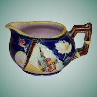 "Antique Cobalt Majolica Cream Pitcher, ""Fan & Bird"""