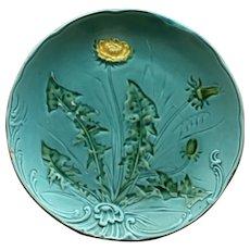 Vintage German Majolica Turquoise Plate, Dandelion Pattern