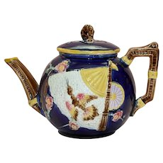 Antique Majolica Cobalt Teapot with Fan Design