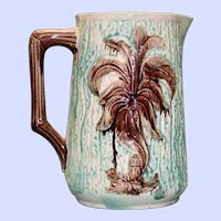 Antique Majolica Pitcher, Palm Trees on Bark Background
