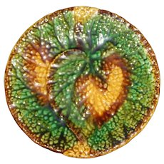 """Antique Majolica Overlapping Begonias Plate, 7.5"""""""