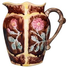 Antique Majolica 7.5 Inch Pitcher with Floral Panels
