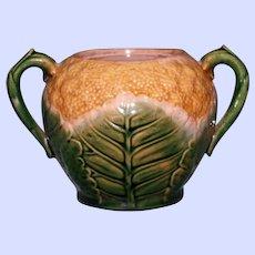 Antique American Griffen, Smith, & Hill Etruscan Majolica Sugar Bowl, Cauliflower Pattern