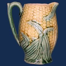 Antique American Griffen, Smith, Hill Etruscan Majolica Pitcher with Corn Motif