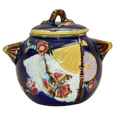 Antique Majolica Cobalt Covered Sugar with Bird & Fan Pattern