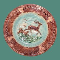 Antique Majolica Plate with Stag & Hunting Dog