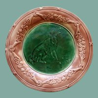 Antique Griffen, Smith, & Hill Etruscan Majolica Plate with Dog, 9""