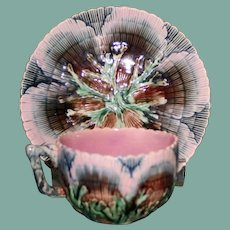 Antique American Griffen, Smith, & Hill Majolica Etruscan Shell and Seaweed Matching Cup and Saucer
