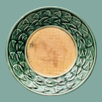 "Antique American Griffen, Smith & Hill Etruscan Majolica Yellow and Green 5.5"" Plate"