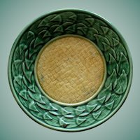 """Antique Griffen, Smith & Hill Etruscan Majolica Yellow and Green 5.5"""" Plate"""