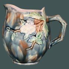 Antique Griffen,  Smith, & Hill Etruscan Majolica Milk Pitcher, Hawthorn (Thorn)