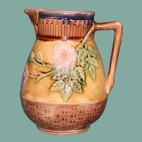 "Antique American Griffen, Smith & Hill Etruscan Majolica Pitcher, ""Wild Rose"", Butterfly Spout"