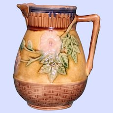 """Antique American Griffen, Smith & Hill Etruscan Majolica Pitcher, """"Wild Rose"""", Butterfly Spout"""