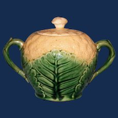 Antique American Griffen, Smith, & Hill Etruscan Majolica Califlower Sugar with Lid