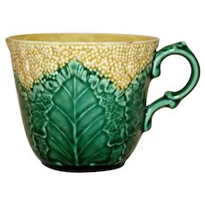 "Antique Majolica Wedgwood Etruria ""Cauliflower"" Cup"