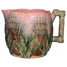 Antique Majolica Etruscan Shell and Seaweed Pitcher By Griffen, Smith, Hill. 5 Inches