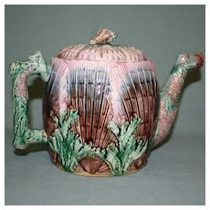 Antique Etruscan (Griffen, Smith, Hill) Majolica Teapot, Shell and Seaweed, Signed,  6.5 Inches