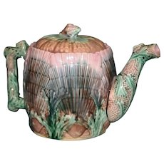 Antique Etruscan Shell & Seaweed Majolica 6 Inch Tea Pot (Teapot), Griffin, Smith, Hill