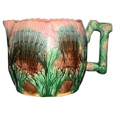 Antique Etruscan Large Shell and Seaweed Pitcher, 6 Inches, Signed