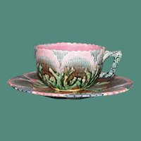 Antique Majolica Etruscan Cup & Saucer by Griffen, Smith, & Hill