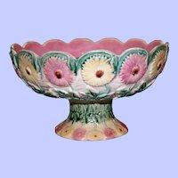 "Antique Griffen, Smtih, & Hill Etruscan Majolica ""Daisy"" Compote, 8.75"" Diameter"