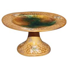 Antique Majolica Compote, Emerald and Gold