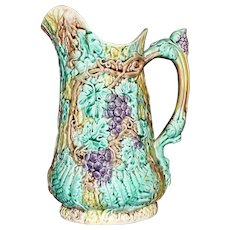 Antique Majolica Pitcher with Grapes, 9 Inches