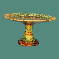 Antique Majolica Compote,  Overlapping Begonia Leaves