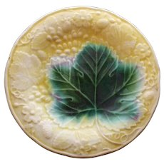 Antique Yellow Majolica Plate with Large Green Leaf