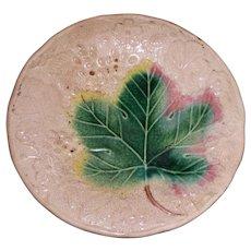 Antique Majolica Plate with Single Large Green Leaf