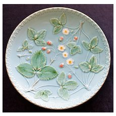 Antique German Zell Majolica Plate with Strawberry Plants