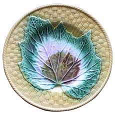 Antique Yellow Basketweave Majolica Plate with Large Green Leaf