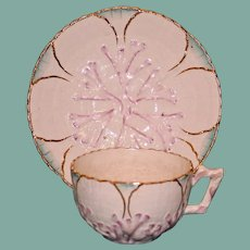 Antique American Majolica Griffen, Smith, & Hill Etruscan Albino Shell & Seaweed Cup & Saucer, Old Mark