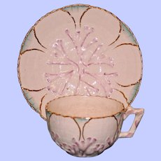 Antique Majolica Griffen, Smith, & Hill Etruscan Albino Cup & Saucer, Signed