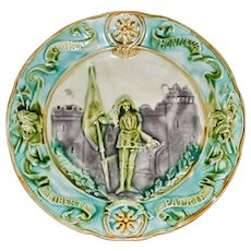 Antique French Majolica Plate Featuring Joan of Arc