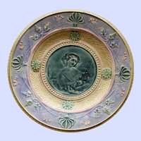 Antique Majolica Plate with Portrait of Beautiful Woman