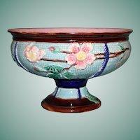 Large Antique Majolica Pedestal Bowl, Turquoise Basketweave, Flowering Branches