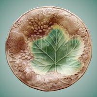 Antique Majolica Plate, Large Green Leaf