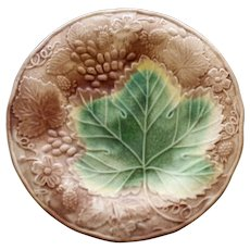 Antique Majolica Plate, Large Green Leaf