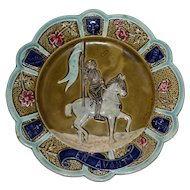 "Antique Majolica Plate with Jeanne d'Arc and ""EN AVANT!"""