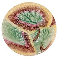 "Antique ""Overlapping Begonia"" Majolica Plate, 8 5/8"""