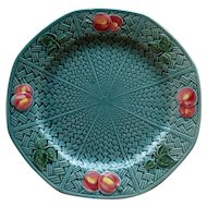 Vintage German Octagonal Majolica Turquoise Plate with Fruit and Leaves